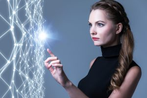 Young caucasian woman pointing wire mesh network concept.
